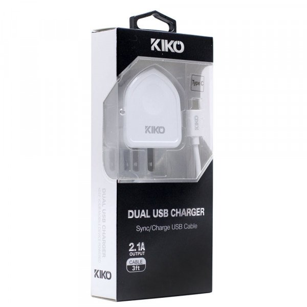 Wholesale Type C USB Dual Port House Charger 2 in 1 (House White)