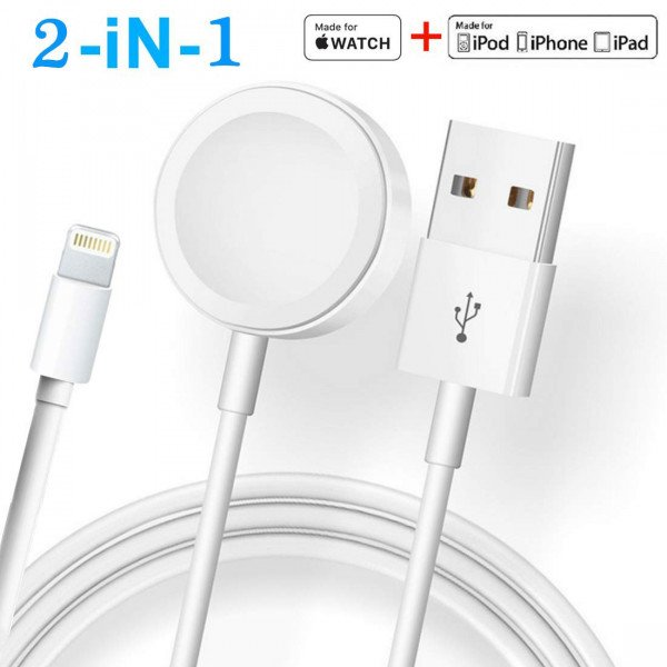 Wholesale 2 in 1 Watch Charger Cable Magnetic with IOS Lightning Cable Compatible with Apple Watch Series 5/4/3/2/1