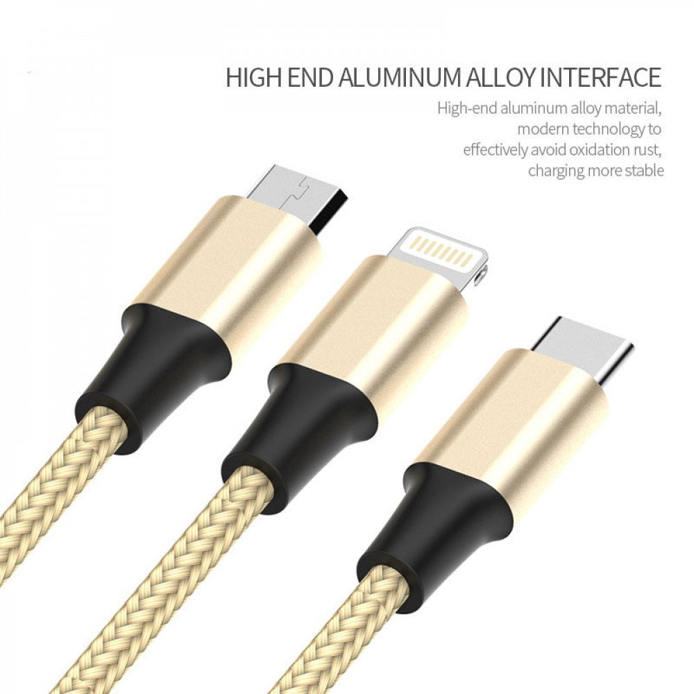 Wholesale 3 in 1 Lightning Type C Micro Metal Nylon Woven Aluminum USB Cable