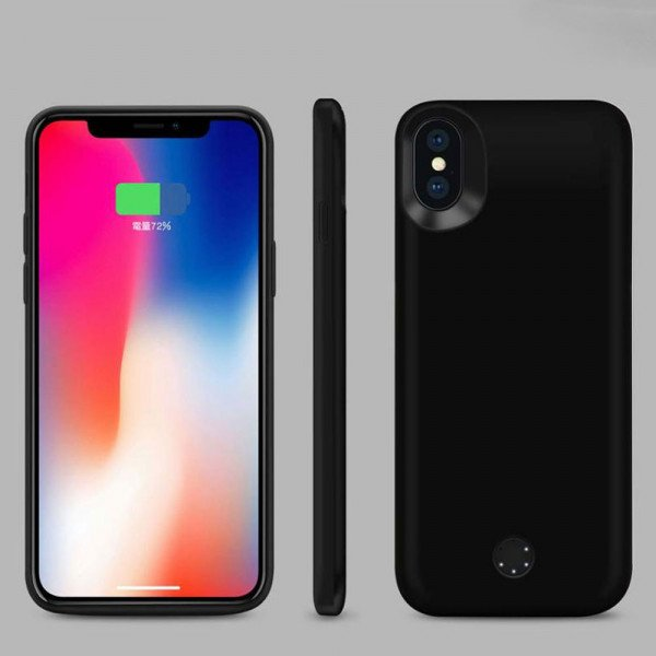 Wholesale iPhone X (Ten) Portable Power Charging TPU Full Case 5000 mAh (Black)