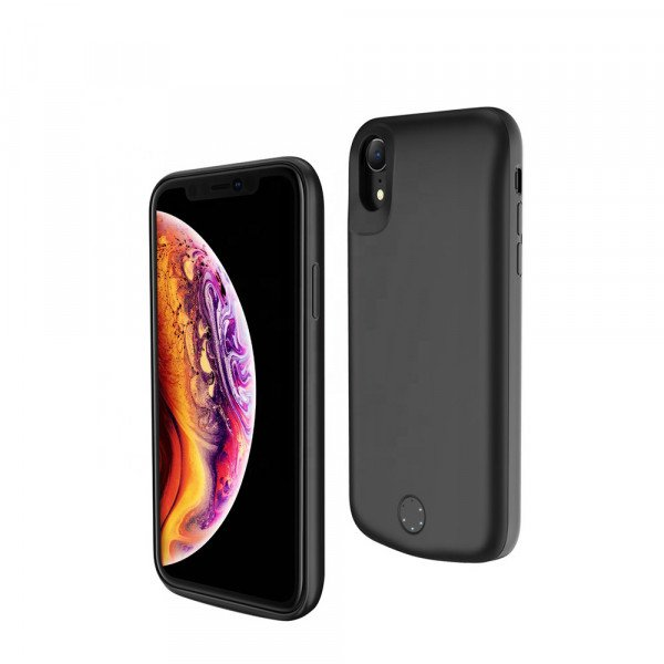 Wholesale iPhone Xs Max Portable Power Charging Cover Case 6000 mAh (Black)