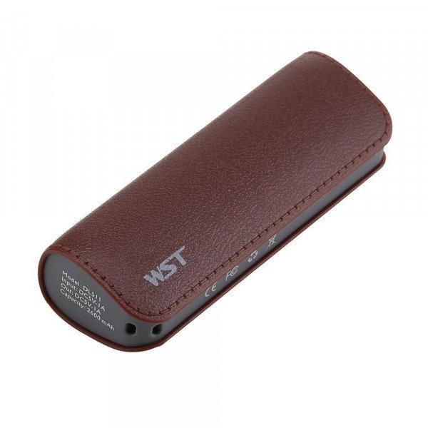 Wholesale 2600 mAh Ultra Compact Portable Charger External Battery Power Bank (Brown)