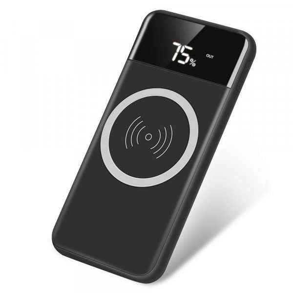 Wholesale 2 in 1 Wireless Charging & Power Bank with LED Digital Display J14 (Black)