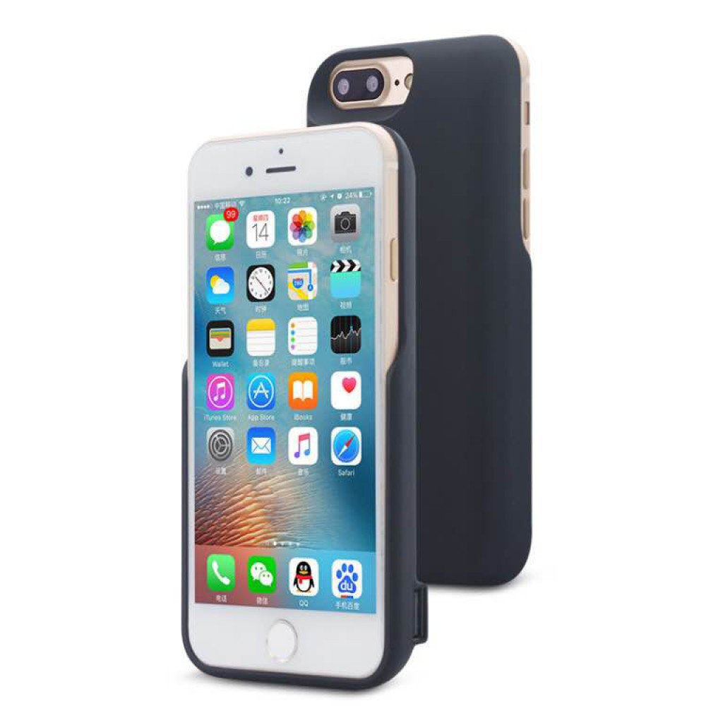 wholesale iphone 8 7 6s 6 dual portable power charging cover 5000 mah black. Black Bedroom Furniture Sets. Home Design Ideas