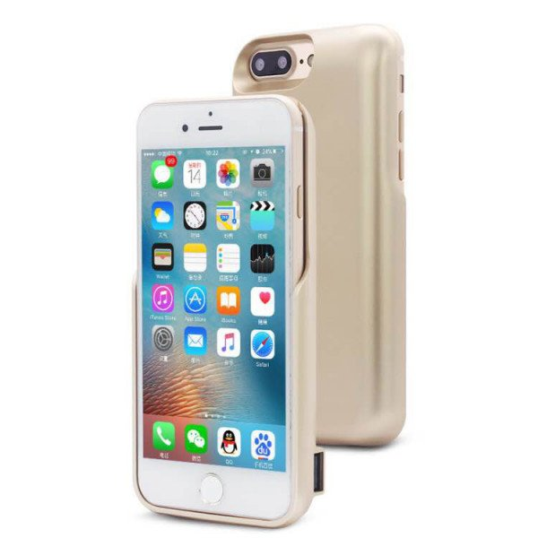 Wholesale iPhone 8 Plus / 7 Plus / 6s Plus / 6 Plus Dual Portable Power Charging Cover 7200 mAh (Gold)