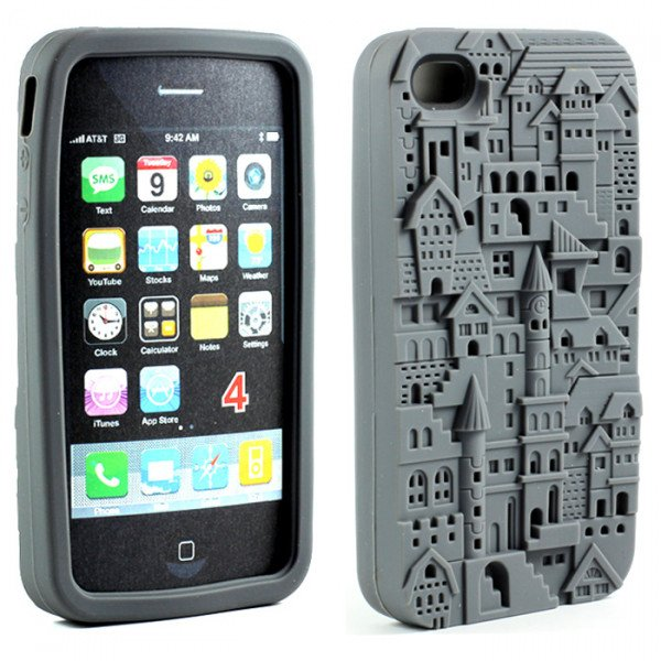 Wholesale iPhone 4 4S 3D Castle Case (Gray)