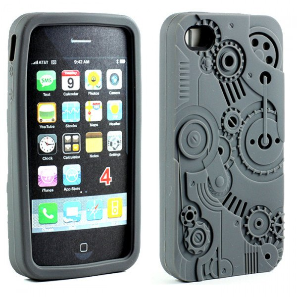 Wholesale iPhone 4 4S 3D Clock Work Case (Gray)