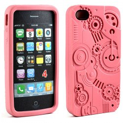 iPhone 4 4S 3D Clock Work Case (Pink)