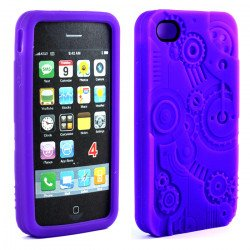 iPhone 4 4S 3D Clock Work Case (Purple)