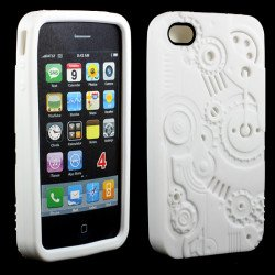 iPhone 4 4S 3D Clock Work Case (White)
