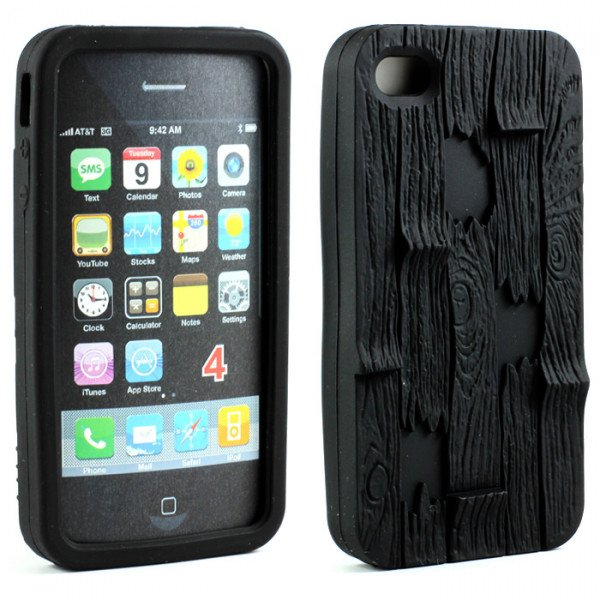 Wholesale iPhone 4 4S 3D Plank Case (Black)