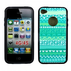 iPhone 4 4S Blue Aztec Design Gummy Case (Blue Aztec)