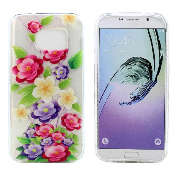 Wholesale Galaxy S7 Crystal Clear Soft Design Case (Blooming Flower)