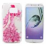 Wholesale Galaxy S7 Edge Crystal Clear Soft Design Case (Pink Bride)