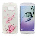 Wholesale Galaxy S7 Edge Crystal Clear Soft Design Case (Pink Butterfly)