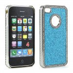 Wholesale iPhone 4 4S Glitter Diamond Chrome Case (Blue)
