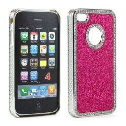 iPhone 4 4S Glitter Diamond Chrome Case (Pink)