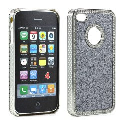 iPhone 4 4S Glitter Diamond Chrome Case (Silver)