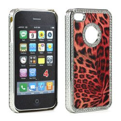 iPhone 4 4S Leopard Diamond Chrome Case (Red)