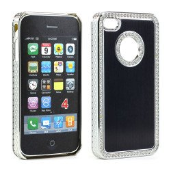 iPhone 4 4S  Alumnium Diamond Chrome Case (Black)