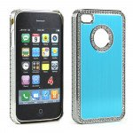 Wholesale iPhone 4 4S  Alumnium Diamond Chrome Case  (Blue-Silver)