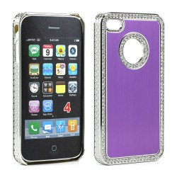 iPhone 4 4S Alumnium Diamond Chrome Case (Purple)