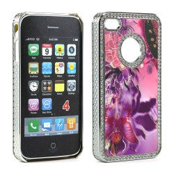 iPhone 4 4S  Butterfly Crystal Diamond Chrome Case (Purple-Mix)