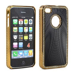 iPhone 4 4S  Sprial Diamond Chrome Case (Black)