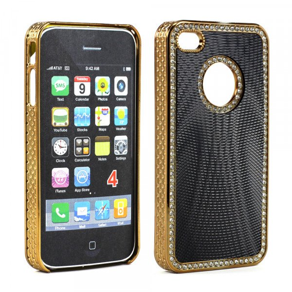 Wholesale iPhone 4 4S  Sprial Diamond Chrome Case (Black)