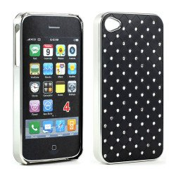 iPhone 4 4S  Star Diamond Chrome Case (Black)