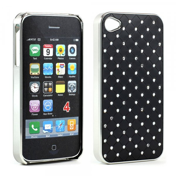Wholesale iPhone 4 4S  Star Diamond Chrome Case (Black)