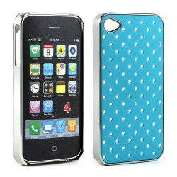 iPhone 4 4S  Star Diamond Chrome Case (Blue)