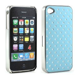 iPhone 4 4S  Star Diamond Chrome Case (Sky Blue)