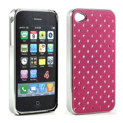 iPhone 4 4S  Star Diamond Chrome Case (Hot-Pink)