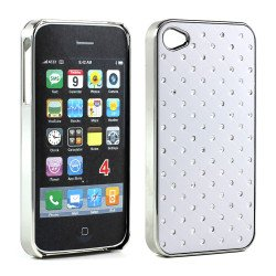 iPhone 4 4S  Star Diamond Chrome Case (White)
