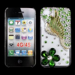 iPhone 4S 4 3D Clear Crystal Butterfly Diamond Case (Green)