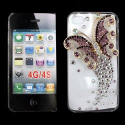 iPhone 4S 4 3D Clear Crystal Butterfly Diamond Case (Purple)