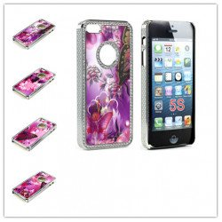 iPhone 5 5S Butterfly Diamond Chrome Case (Purple MIX)