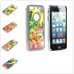 iPhone 5 5S Butterfly Diamond Chrome Case (Rainbow MIX)