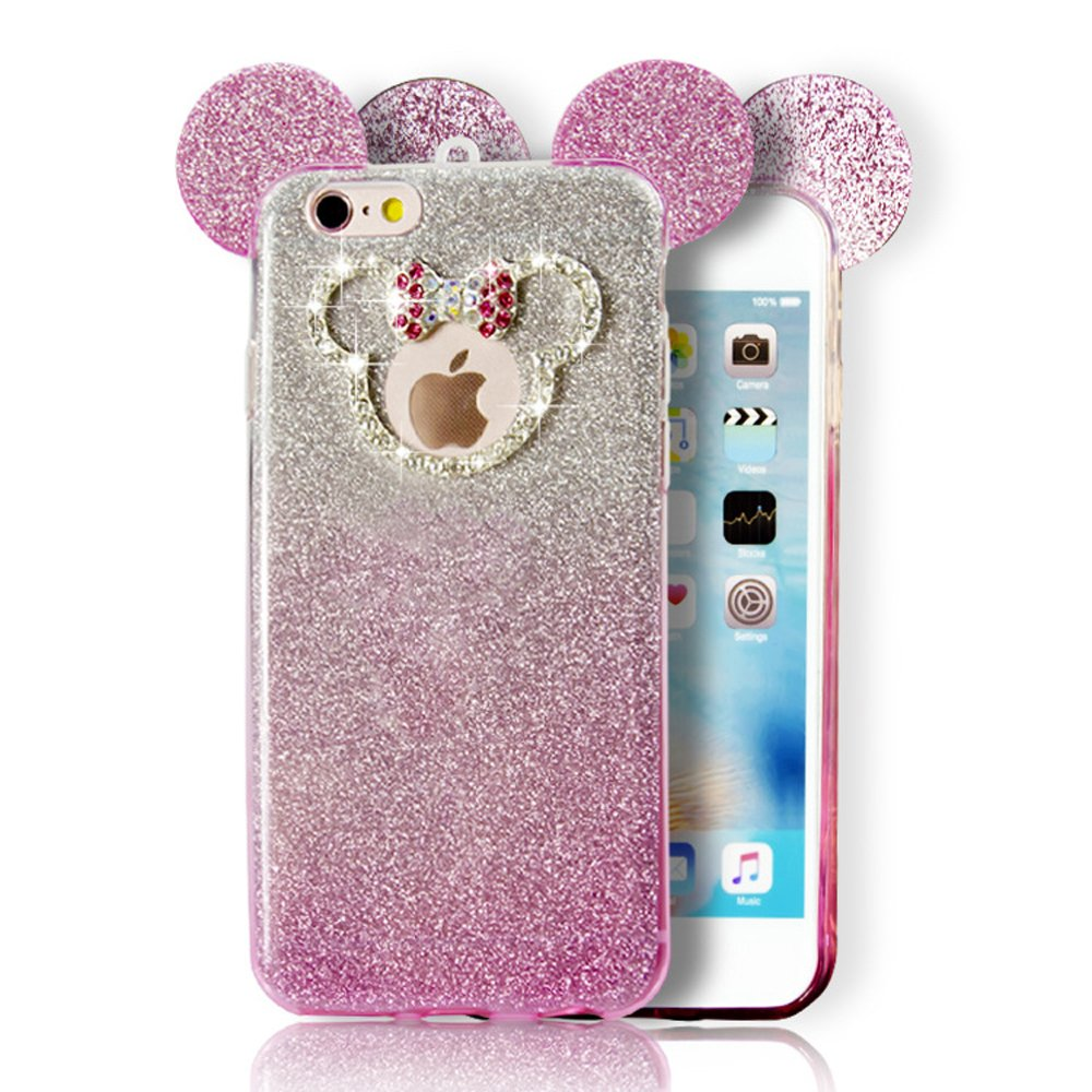 wholesale iphone 7 minnie bow diamond glitter necklace strap case hot pink. Black Bedroom Furniture Sets. Home Design Ideas