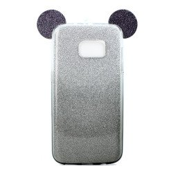 Galaxy S7 Edge Minnie Bow Glitter Necklace Strap Case (Black)
