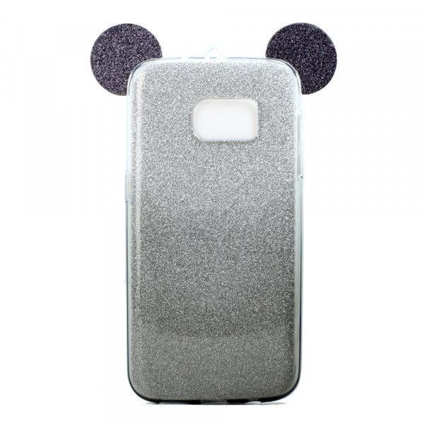Wholesale Galaxy S7 Edge Minnie Bow Glitter Necklace Strap Case (Black)