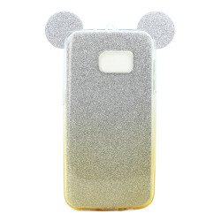Galaxy S7 Edge Minnie Bow Glitter Necklace Strap Case (Champagne Gold)