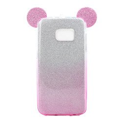 Galaxy S7 Edge Minnie Bow Glitter Necklace Strap Case (Hot Pink)
