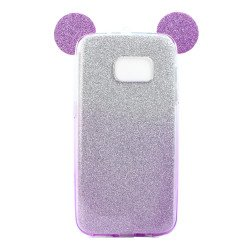 Galaxy S7 Edge Minnie Bow Glitter Necklace Strap Case (Purple)