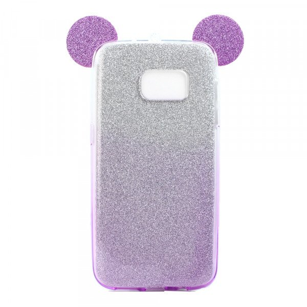 Wholesale Galaxy S7 Edge Minnie Bow Glitter Necklace Strap Case (Purple)