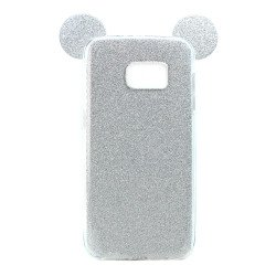 Galaxy S7 Minnie Bow Glitter Necklace Strap Case (Silver)