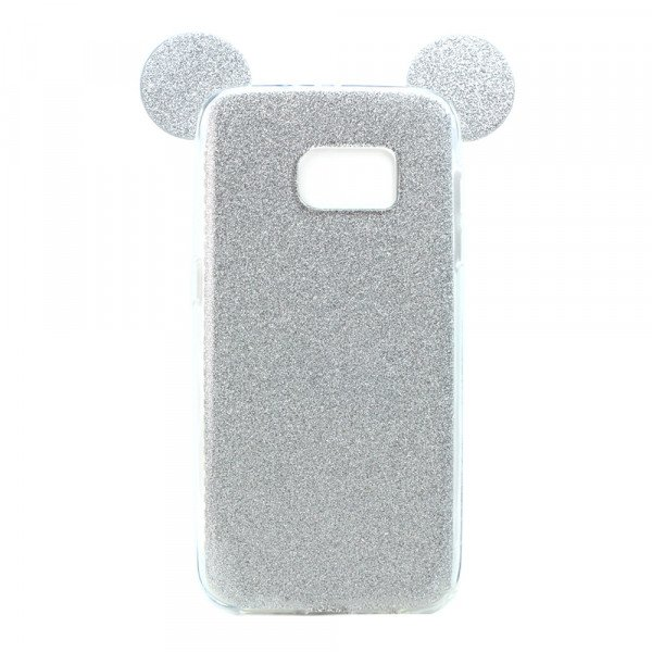 Wholesale Galaxy S7 Edge Minnie Bow Glitter Necklace Strap Case (Silver)
