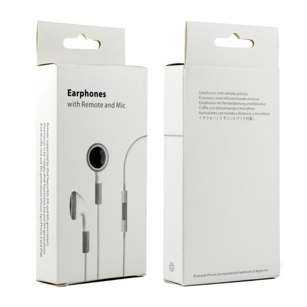 Wholesale iPhone 4S Style Stereo Earphone Headset with Mic and Volume Control (White)
