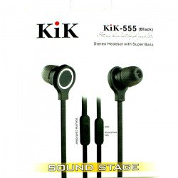 KIK 555 Stereo Earphone Headset with Mic and Volume Control (555 Black)